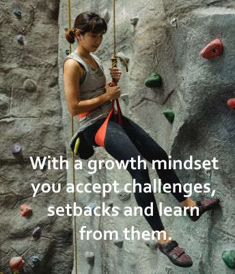 with a growth mindset you accept challenges, setbacks and learn from them